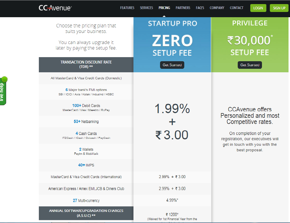 ccavenue payment gateway pricing