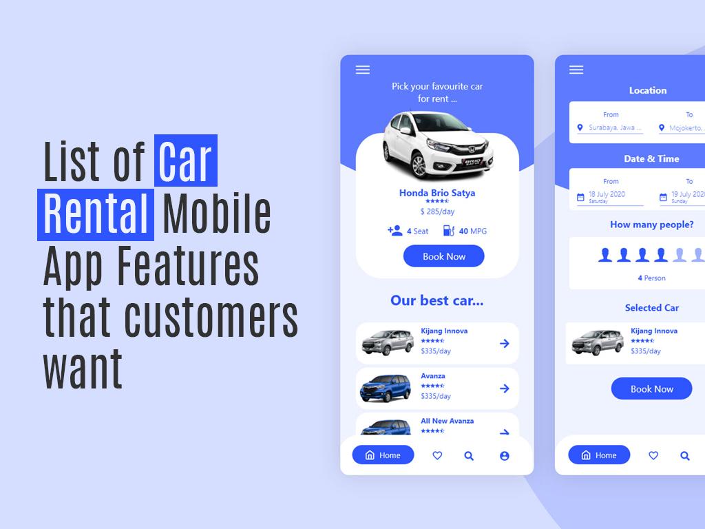 car rental app development app features